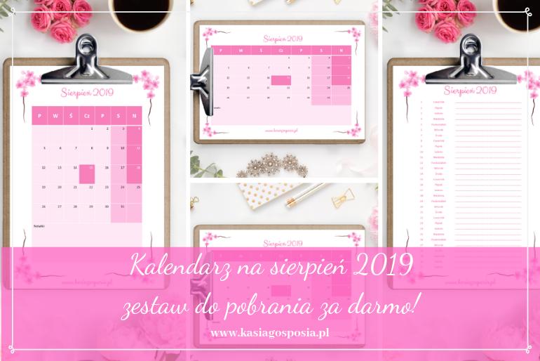 kalendarz na sierpień 2019