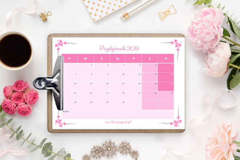 kalendarz napaździernik 2019