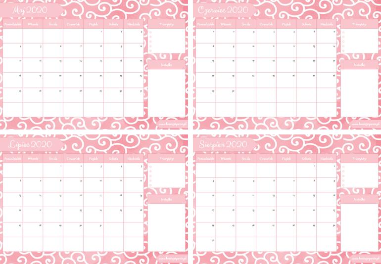 różowy kalendarz 2020
